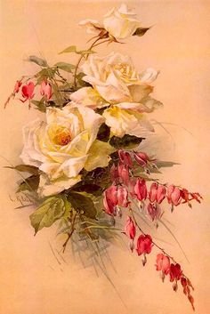 Catharina Klein. reminding me of my Grandma's gorgeous roses and bleeding hearts bouquet