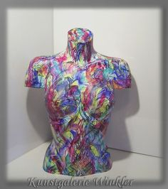 Büste Torso Skulptur Abstrakt bemalt Acrylmalerei von Kunstgalerie Winkler auf DaWanda.com