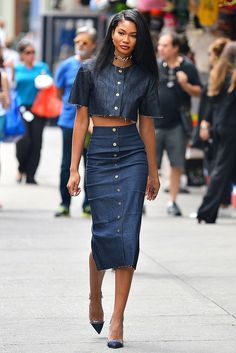 Chanel Iman works double denim with this smokin' raw hem crop top and pencil skirt outfit while getting lunch in NYC