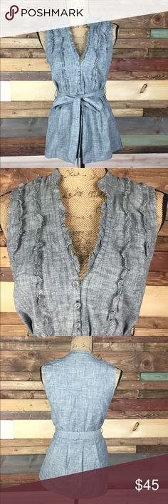 """Anthropologie Sleeveless Button Tank Top - S Anthropologie Sleeveless Button Tank Top - S  Adorable and fits perfect! The tie in the front totally completes the look!  Bust (Laying flat): 17"""" Length: 26.5""""  #woodsnap #Fei #anthro #anthropologie #small #denim #tiefront #buttons #tie #bow #sleeveless Anthropologie Tops Tunics"""