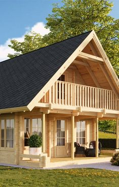 Little House Plans, House Plan With Loft, Cabin House Plans, Tiny House Cabin, Village House Design, Bungalow House Design, Small House Design, Rest House, House In The Woods