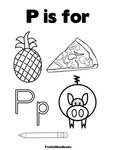 Letter P Coloring Pages Instant Digital Download Adult Coloring Page