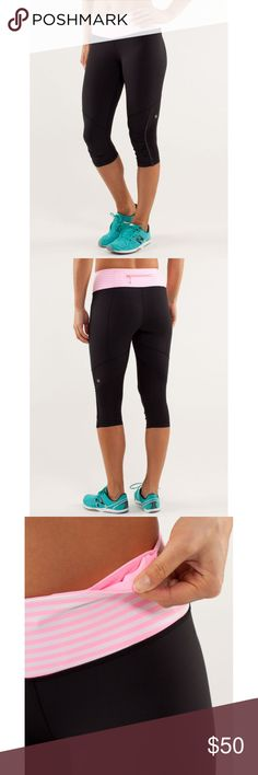 """Lululemon Run For Your Life Classic Stripe Pink 6 NO OFFERS. PRICE IS FIRM AND NON-NEGOTIABLE. NO TRADES OR HOLDS. Lululemon """"Run For Your Life"""" crop yoga pants/leggings in Classic Stripe Pink Shell/Black, size 6. Cute ruching down the sides of the calves with reflective details to keep you visible in low light. Made of Power Luxtreme with strategically placed quick-drying Circle Mesh. Multiple pockets. lululemon athletica Pants Ankle & Cropped"""