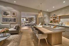 + 20 salas de estar e jantar integradas - inspire-se! Open Plan Kitchen Living Room, Kitchen Dinning, Open Plan Living, Home Living Room, Kitchen Decor, Kitchen Design, Cuisines Design, Cozy House, Kitchen Interior