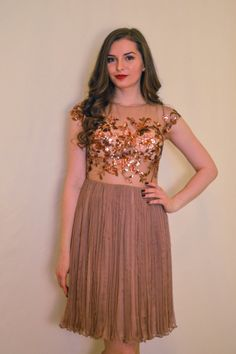 Nude/ Almond silk gown pleated skirt and sequins by MaiaRatiu