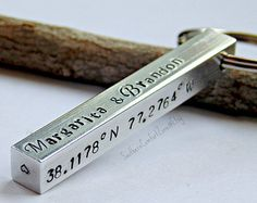 Personalized Bar Key Chain - Gift For Him - Long Distance Relationship - Wedding - Dad - Husband - Military - Anniversary Birthday Gift