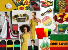 Reggae inspiration board for a 4-20 wedding