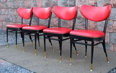 4 Vintage Red Mid Century Shelby Williams Eames Atomic by picks4u, $725.00