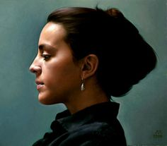 Justine, oil on linen, 31x36cm by Anthony J. Ryder