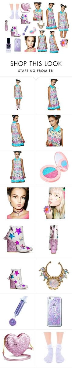 """Alice"" by unicornbubble ❤ liked on Polyvore featuring Japan L.A., Lime Crime, Happy Monday, Marina Fini, JEM, Glitter Injections, Leg Avenue and Cirque Colors"