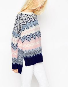 Image 3 of ASOS Sweater In Chevron Pattern