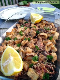 Calamari gratinati al forno light, Mangia senza Pancia Lunch Recipes, Easy Dinner Recipes, Seafood Recipes, Cooking Recipes, Healthy Recipes, Best Italian Recipes, Favorite Recipes, Sicilian Recipes Authentic, Antipasto