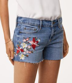 Thumbnail Image of Color Swatch 6303 Image of Floral Embroidered Cut Off Shorts