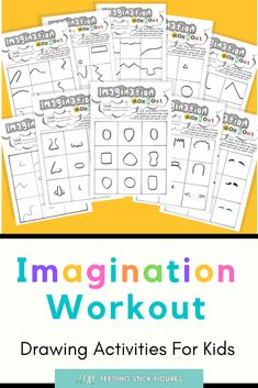Imagination Workout Drawing Practice for Kids Bundle - Easy #Drawing Activities for Kids. Simple, easy and super fun art idea for kids and beginners. @FeedingStickFigures shares simple art lesson and project ideas, fun worksheets, colouring sheets, and #printables for kids to do at home. Easy home activities for kids | Arts and crafts | #ColouringPages | Art development Primary School Art, Back To School Teacher, Art School, School Ideas, Drawing Activities, Art Activities For Kids, Art For Kids, Art Projects For Teens, School Art Projects