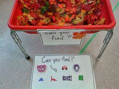Sensory Table- I Spy Fall Sensory Bin - Use a rake to find the items hiding under the leaves and acorns Fall Sensory Bin, Sensory Tubs, Sensory Activities, Toddler Activities, Sensory Play, Sensory Rooms, Sensory Diet, Indoor Activities, Family Activities