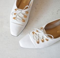 Vintage 80s Flats / Corset Lace Up / White by MariesVintage - StyleSays