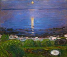 Edvard Munch, Noche de verano en la playa, 1901. Óleo sobre lienzo, 103 x 120 cm, Colección particular