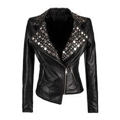 Studded Leather Biker Jacket ($221) ❤ liked on Polyvore