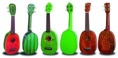 Ukuleles are F-U-N! Right? Try to be sad while strumming a Kiwi, Watermelon or a Pineapple uke ($94.99); it just doesn't work. Play them & laugh or just hang them on the wall - see what your friends say.  Kiwi Soprano:  •13-11/16 Soprano Scale (Distance from Nut to Saddle)  •21 Overall body length  •Faux Tortoise shell Binding  •Fret position Marks at 5th,7th and 10th frets  •12 Silver Nickel Frets  •Rosewood Fingerboard and Bridge  •Mahogany neck  •Geared tuners  •Premium AQUILA NYLGUT…