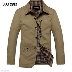 e3a9ccdbbbd 2015 New Fashion Men Jackets Single Breasted Turn Over Collar Casual  Outcoat Windproof Male Slim Fit Leisure Wear Hn3358-in Jackets from Men s  Clothing ...