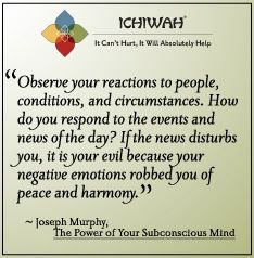 Observe your reactions to people, conditions, and circumstances. How do you respond to the events and news of the day? If the news disturbs you, it is your evil because your negative emotions robbed you of peace and harmony. ~ Joseph Murphy
