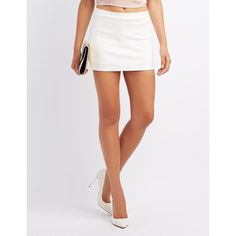 Charlotte Russe Ponte Knit Mini Skort ($22) ❤ liked on Polyvore featuring skirts, mini skirts, white, white golf skirt, stretchy mini skirts, skort skirt, elastic waist mini skirt and mini skirt