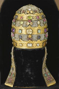 Papal tiara, or triregnum. an Italian model, made for the pope however it never belonged to any pope. Sold at auction for $25,000.