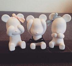 Cute teddy bear TRIO of plaster diffuser, air freshener, home decor item