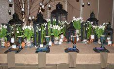 Lantern and tulip tablescape
