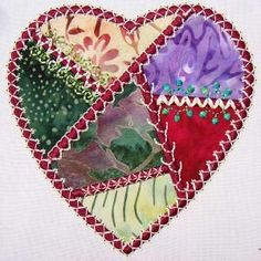 I ❤ crazy quilting & embroidery . Crazy Patch Tutorial~ :Crazy Patch Embroidery: How to Stitch a Crazy Heart Two Ways Crazy Quilting, Crazy Quilt Stitches, Crazy Quilt Blocks, Hand Quilting, Machine Quilting, Embroidery Stitches, Machine Embroidery, Embroidery Designs, Hand Embroidery