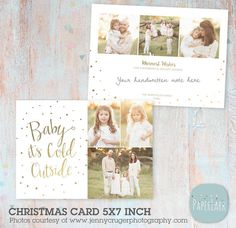 Christmas Cards Template  Christmas Photo Card by PaperLarkDesigns