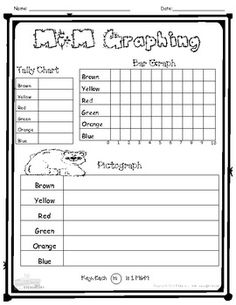 A fun and interactive way to teach graphing skills! Using M&Ms, students will learn how to use tally marks, pictographs, and bar graphs. With budget cuts in education, this worksheet is perfect as a one-page worksheet, which will display student's mastery of graphing skills.
