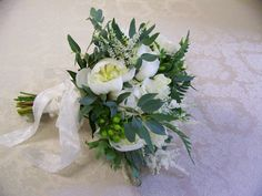 White and green bridal bouquet.