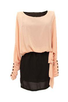 Off-shoulder Batwint-sleeve Pink Dress [NCSKI0112] - $60.99 :
