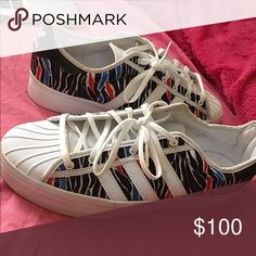 Adidas Print Platform shoe Sz 10 Red, blue, and white zebra print. Worn once. Fit to size Adidas Shoes Platforms