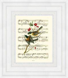 Songbird Sheet Music Art Print, Black-Capped Chickadees On An Upcyled Music Page Valentine Bird Lover Sheet Music Decor, Vintage Sheet Music, Vintage Sheets, Black Capped Chickadee, Music Page, Gothic Home Decor, Antique Books, Chickadees