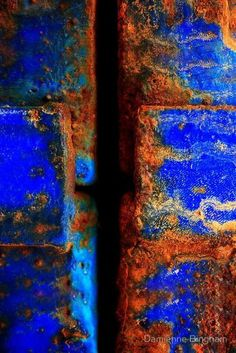 TEXTURE The surface quality. How things look like they feel. In this picture, the rust has more texture than the blue tile. Textures Patterns, Color Patterns, Color Schemes, Peeling Paint, Shades Of Blue, Color Inspiration, Abstract Art, Graffiti, Artwork