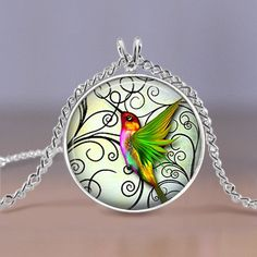 Jewelry  Green Hummingbird Pendant  Silver by MaDGreenCreations, $7.49