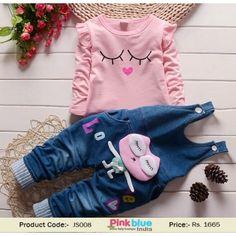 5796c1e599a Buy Online Pink and Blue Denim Baby Girl Designer Jumpsuit