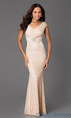 Floor Length Scoop Neck Lace Cap Sleeve Dress at SimplyDresses.com  Koszorúslányruhák e61f00ee2e