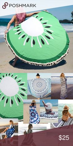 "Beach Throw • Theme : Fruits/Food • Size : 59"" • Material : 100% Viscose • Blanket / Beach Towel / Beach Throw • Kiwi print wrap poncho with tassel trim _ multi-way round beach towel throw Accessories"