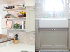 We were able to splurge on marble tile backsplash and a Kohler apron front sink with our DIY savings.