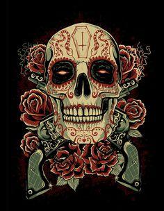 Caveira Mexicana Tattoo, Sugar Skull Artwork, Totenkopf Tattoos, Candy Skulls, Sugar Skulls, Skull Pictures, Sugar Skull Tattoos, Skull Wallpaper, Mexican Skulls