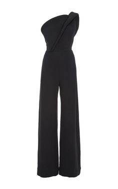 Crepe Silk One Shoulder Jumpsuit by BRANDON MAXWELL for Preorder on Moda Operandi
