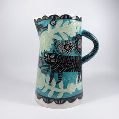 'Black Garden Cat' Large carafe Height 30cm