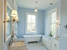 Cool blue wall for the bath.