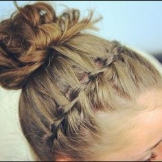 waterfall twist with messy bun