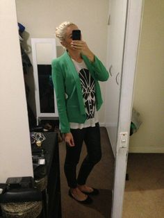 Style: Green Witchery blazer, Kookai skull top, black leather pants and black ballet flats