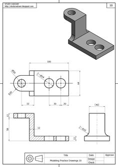 Drawing exercises Autocad in 2020 Isometric Drawing Exercises, Autocad Isometric Drawing, Mechanical Engineering Design, Mechanical Design, Cad 3d, Orthographic Drawing, Solidworks Tutorial, Drafting Drawing, Interesting Drawings