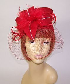 Red Felt w Feathers Crystals Nettingred Hat Ladies of Society or Derby Day   eBay